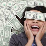 lady with eyes covered in US Dollar cash
