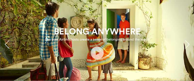 A screengrab from Airbnb's website highlighting the sense of home visitors can expect from Airbnb's listings.