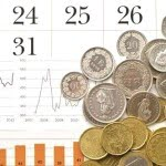 coins on top of calendar with charts