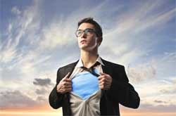 Image of man with superman pose