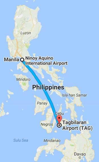 Manila to Bohol Map