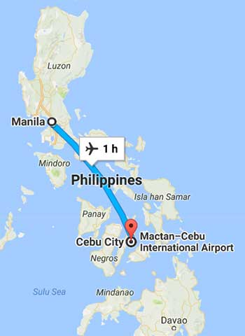 Manila to Cebu map