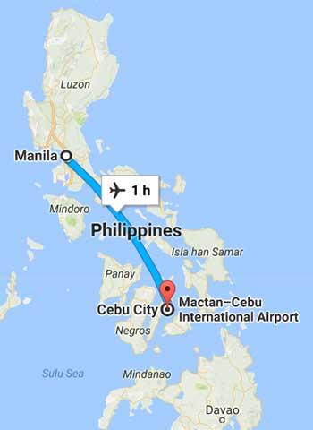 Manila to Cebu map