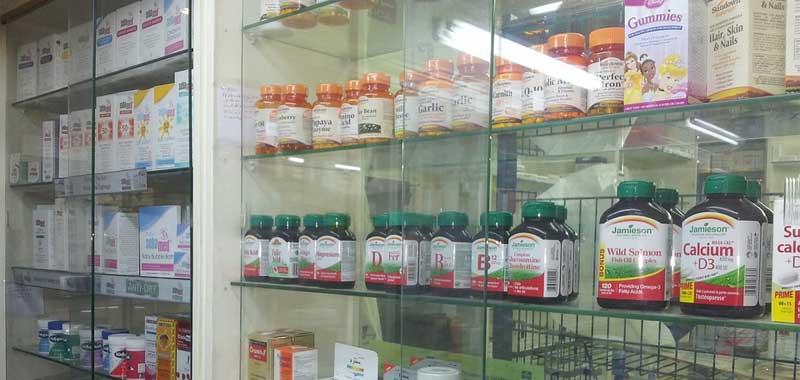 drug store shelves