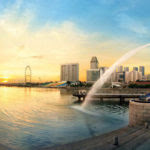 Merlion facing Marina Bay Sands and Singapore Flyer