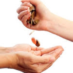 giving coins to another person
