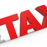 Clip art of person pushing tax sign upwards