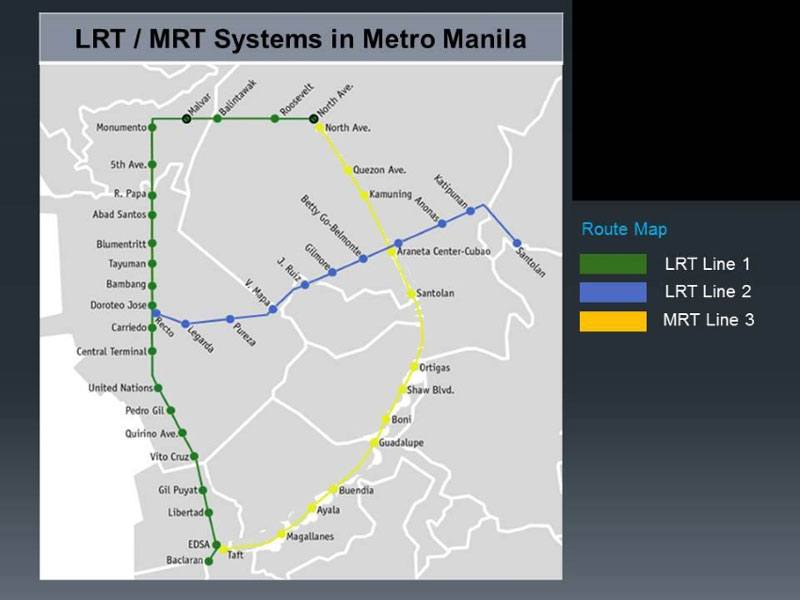 MRT and LRT Map Manila