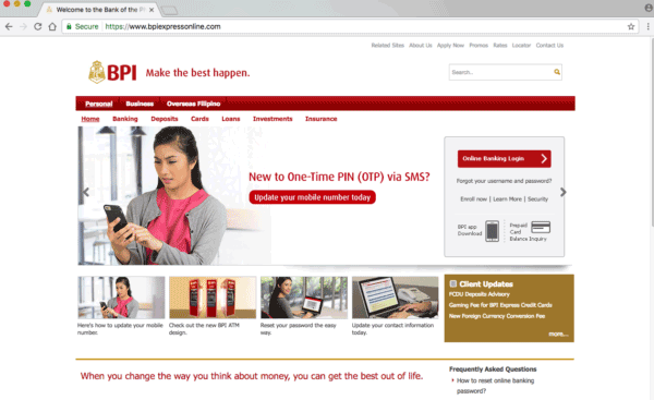 BPI Online Main Interface