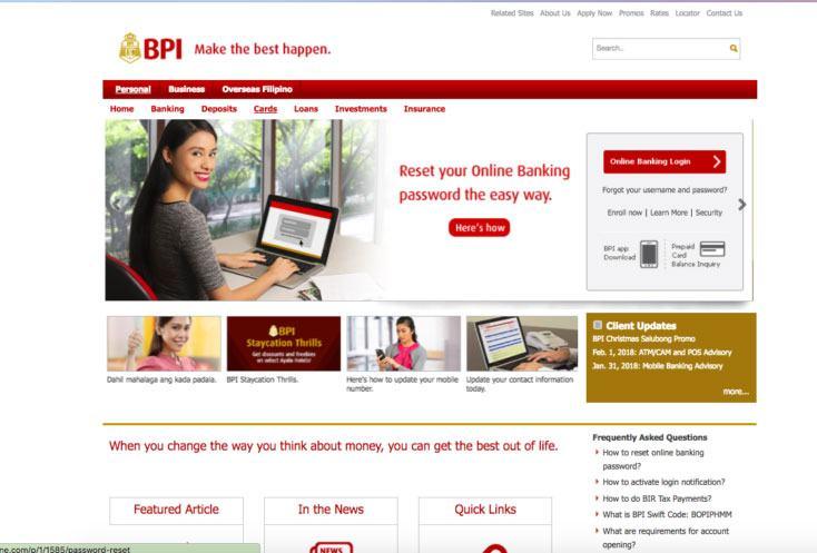 BPI Online Banking Login Page