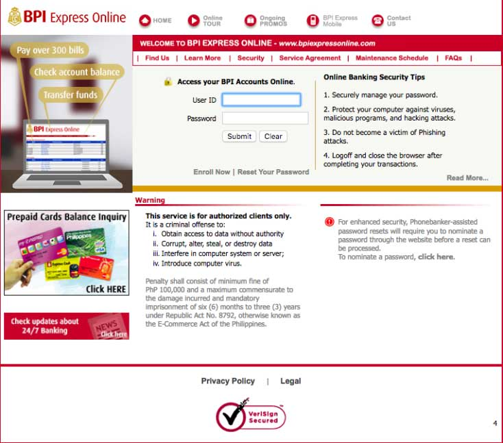 BPI Express Online Banking User ID