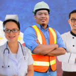 OFW workers with PH flag background