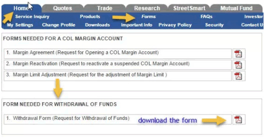 COL Financial Withdraw section