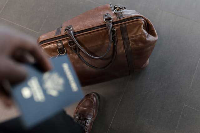 Traveller With Brown Luggage