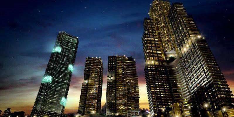 dusk high-rise buildings