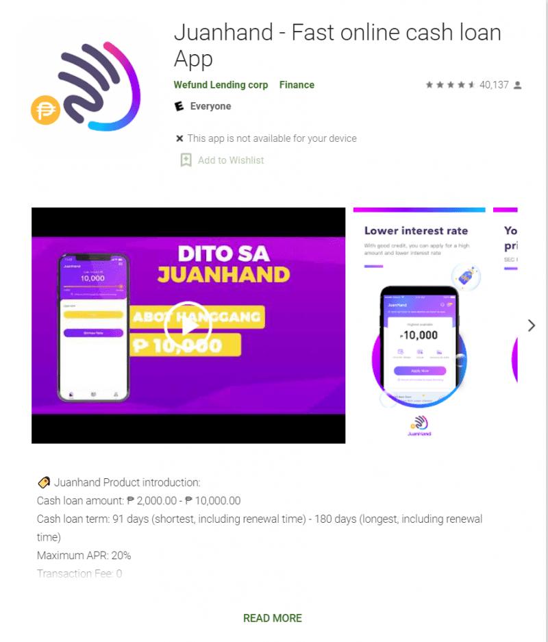 app store showing Juanhand loan app