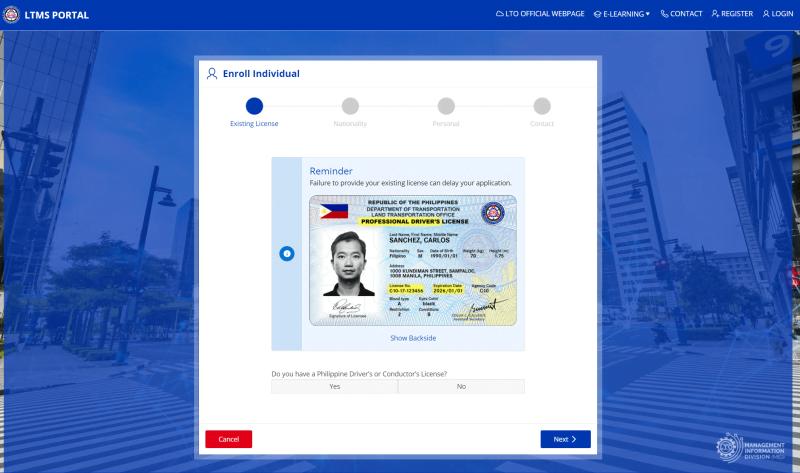 LTO online identity verification page