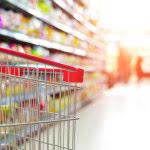 Grocery cart inside supermarket