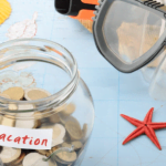 Vacation jar with coins and swimming equipment