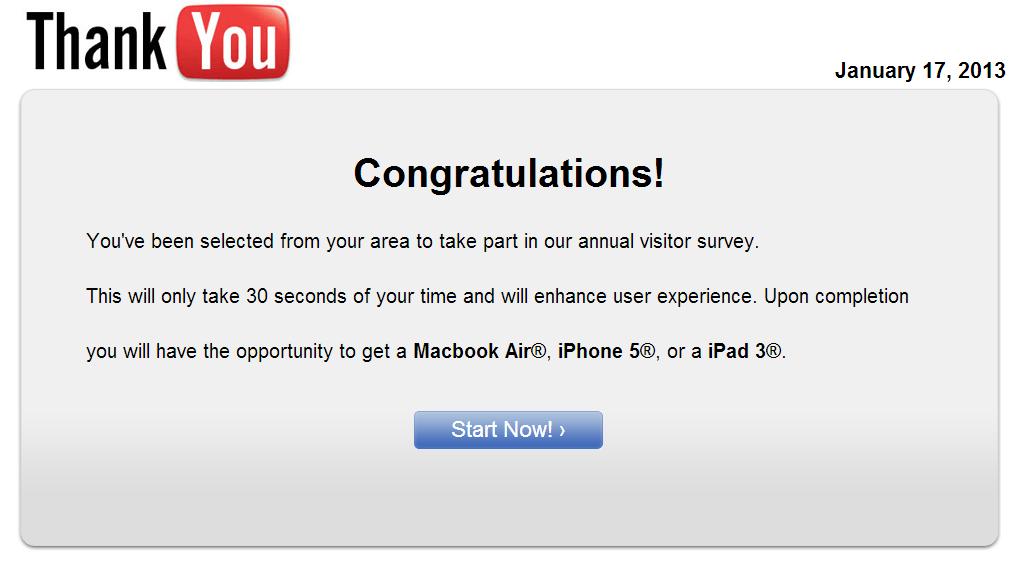 congratulations scam