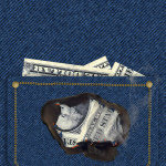 money burning in a shirt pocket