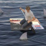 credit card as a boat