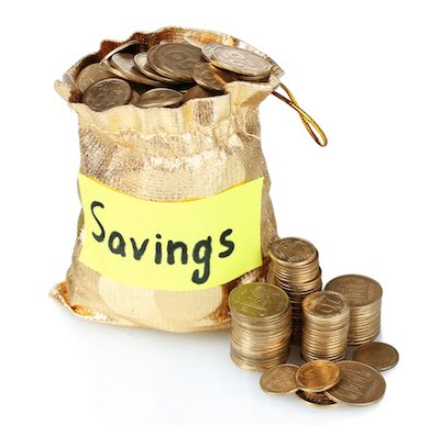 savings account sack with money