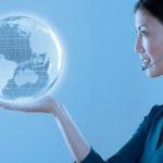 Telesales rep holding globe