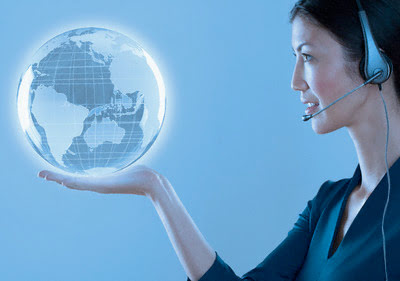 virtual assistant holding a globe