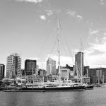 large yacht in black and white
